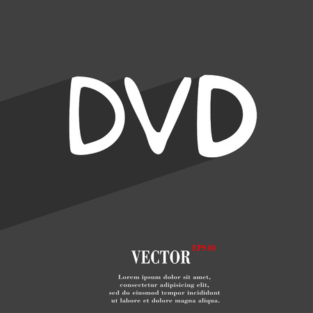storage data product: dvd icon symbol Flat modern web design with long shadow and space for your text. Vector illustration Illustration