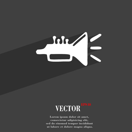 brass instrument: trumpet, brass instrument icon symbol Flat modern web design with long shadow and space for your text. Vector illustration