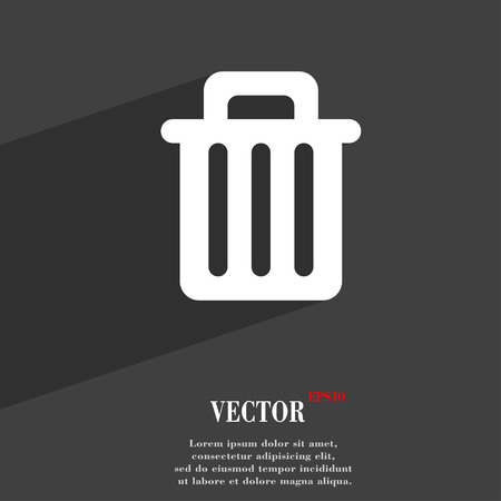 garbage tank: Recycle bin icon symbol Flat modern web design with long shadow and space for your text. Vector illustration