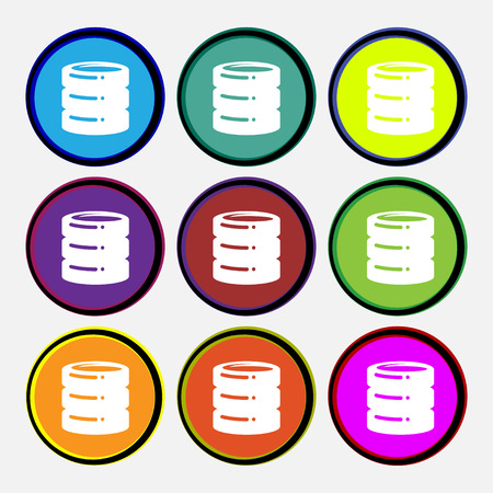 hard drive date base icon sign. Nine multi colored round buttons. Vector illustration Illustration