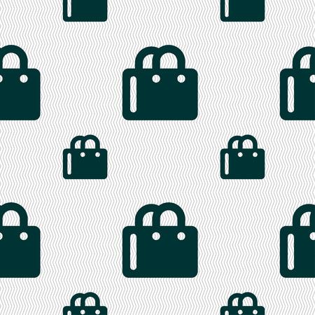 shopping bag icon: Einkaufstasche-Symbol-Zeichen. Nahtloses Muster mit geometrischen Textur. Vektor-Illustration Illustration