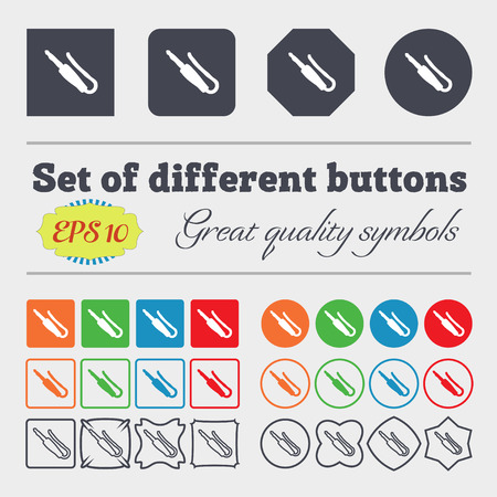 minijack: plug, mini jack icon sign. Big set of colorful, diverse, high-quality buttons. Vector illustration