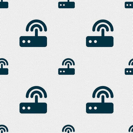ethernet cable: Wi fi router icon sign. Seamless pattern with geometric texture. Vector illustration