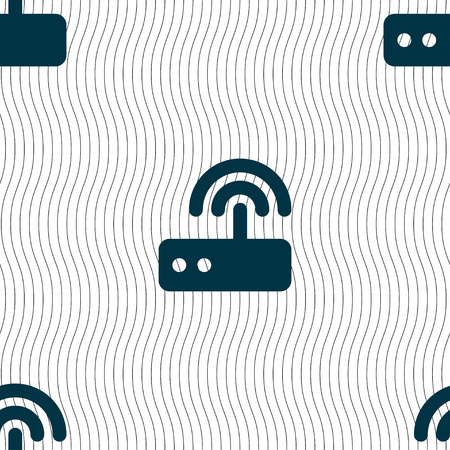 dsl: Wi fi router icon sign. Seamless pattern with geometric texture. Vector illustration
