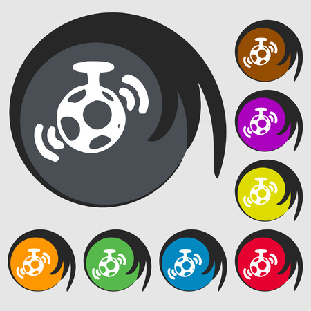 mirror ball: mirror ball disco icon sign. Symbol on eight colored buttons. Vector illustration