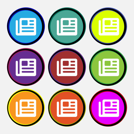 magazine stack: book, newspaper icon sign. Nine multi colored round buttons. Vector illustration Illustration