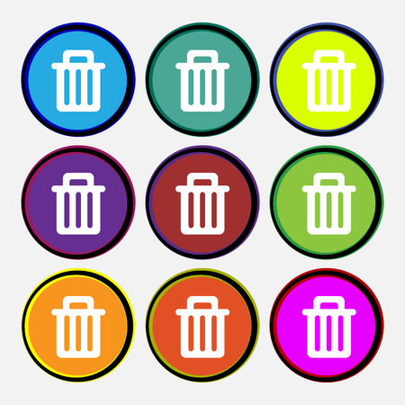 Recycle bin icon sign. Nine multi colored round buttons. Vector illustration