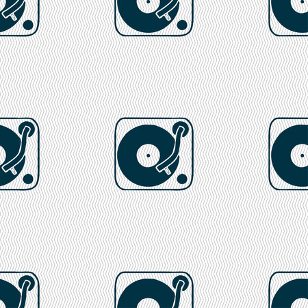 Gramophone, vinyl icon sign. Seamless pattern with geometric texture. Vector illustration Vector