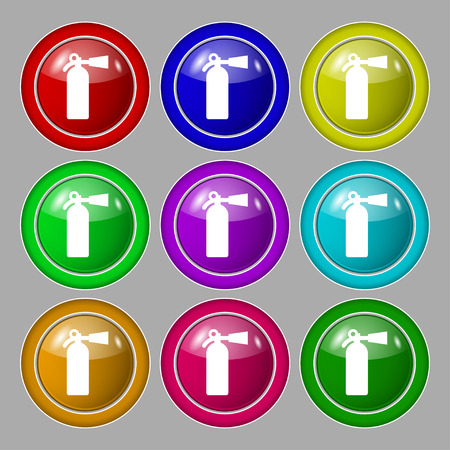 suppression: fire extinguisher icon sign. symbol on nine round colourful buttons. Vector illustration