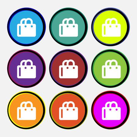 shopping bag icon: Einkaufstasche-Symbol-Zeichen. Neun mehrfarbige Runde Schaltfl�chen. Vektor-Illustration