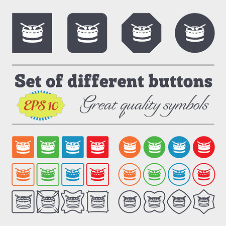 school kit: drum icon sign. Big set of colorful, diverse, high-quality buttons. Vector illustration