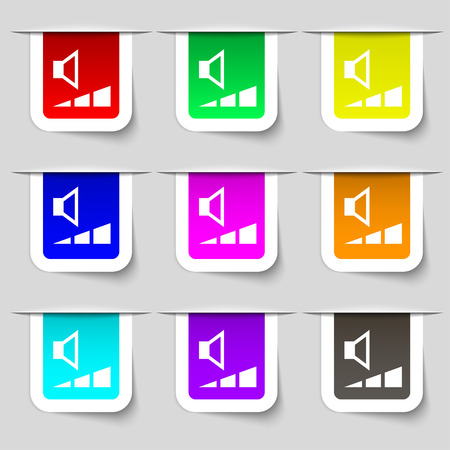 max: volume, sound  icon sign. Set of multicolored modern labels for your design. Vector illustration