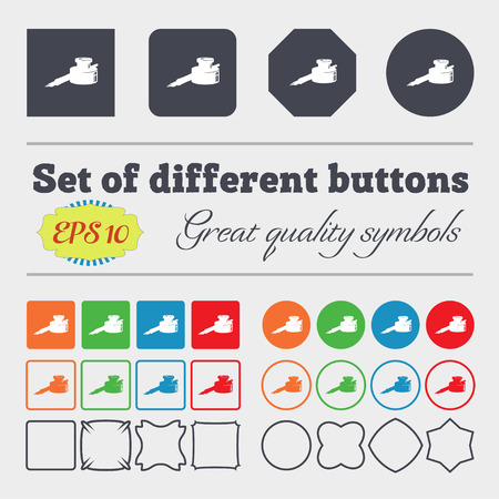 signing document: pen and ink icon sign. Big set of colorful, diverse, high-quality buttons. Vector illustration