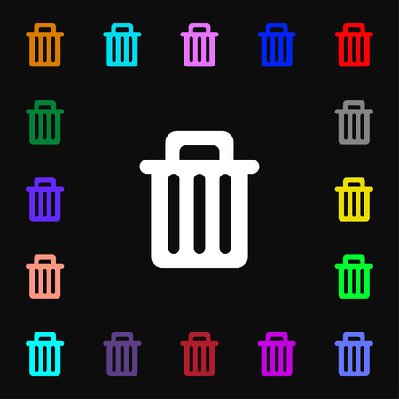 litter bin: Recycle bin icon sign. Lots of colorful symbols for your design. Vector illustration