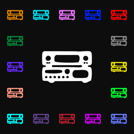 fm: radio, receiver, amplifier icon sign. Lots of colorful symbols for your design. Vector illustration Illustration