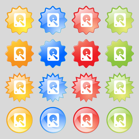 hard disk: hard disk icon sign. Set from fourteen multi-colored glass buttons with place for text. Vector illustration