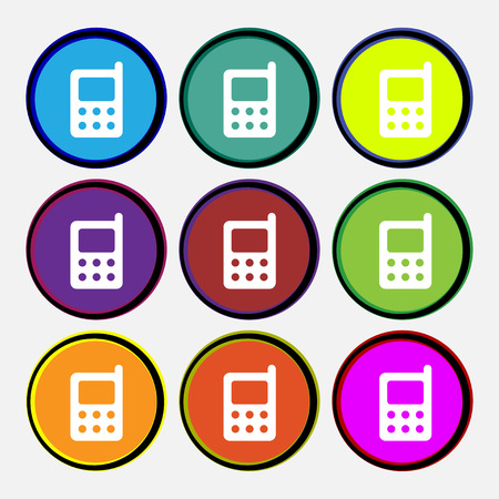 palmtop: mobile phone icon sign. Nine multi colored round buttons. Vector illustration