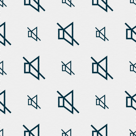 tech no: without sound, mute icon sign. Seamless pattern with geometric texture. Vector illustration Illustration