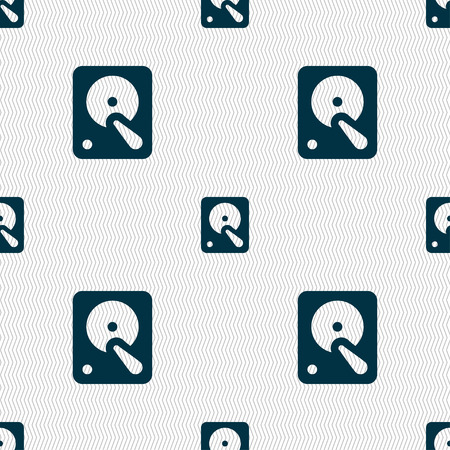 hard disk: hard disk icon sign. Seamless pattern with geometric texture. Vector illustration