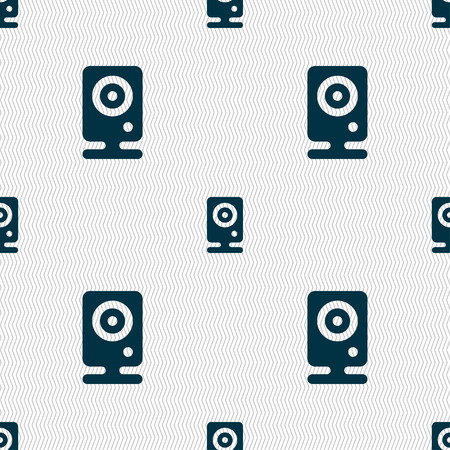 web cam: Web cam icon sign. Seamless pattern with geometric texture. Vector illustration