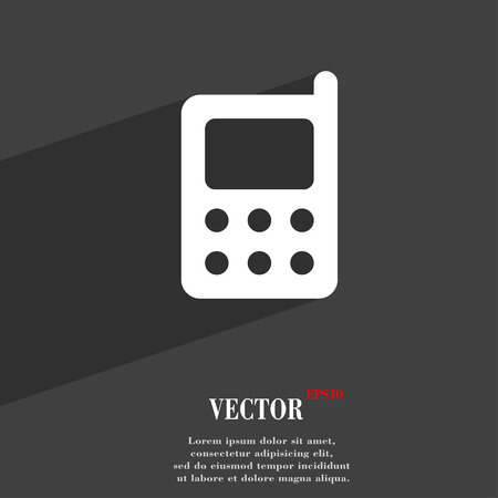 palmtop: mobile phone icon symbol Flat modern web design with long shadow and space for your text. Vector illustration Illustration