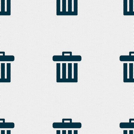 discard: Recycle bin icon sign. Seamless pattern with geometric texture. Vector illustration
