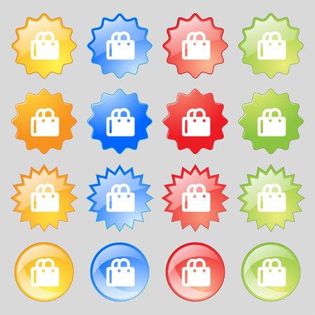 shopping bag icon: Einkaufstasche-Symbol-Zeichen. Set von vierzehn bunten Glas-Buttons mit Platz f�r Text. Vektor-Illustration