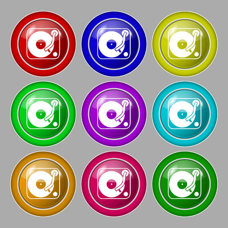 oldies: Gramophone, vinyl icon sign. symbol on nine round colourful buttons. Vector illustration