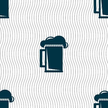 guinness: glass of beer icon sign. Seamless pattern with geometric texture. Vector illustration Illustration