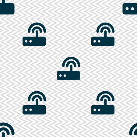 adsl: Wi fi router icon sign. Seamless pattern with geometric texture. Vector illustration
