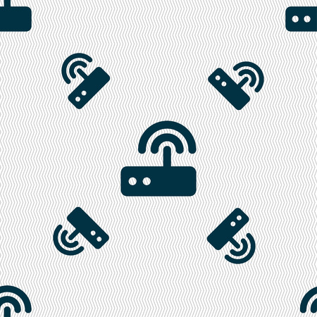 Wi fi router icon sign. Seamless pattern with geometric texture. Vector illustration