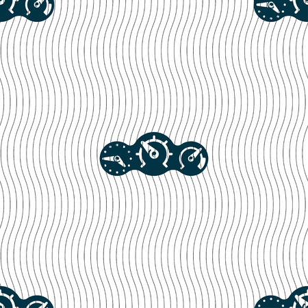 time drive: speed, speedometer icon sign. Seamless pattern with geometric texture. Vector illustration