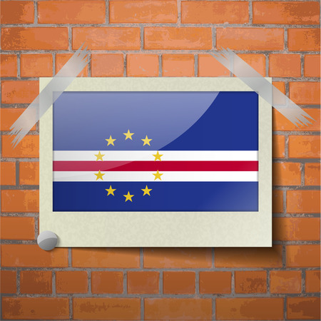 cape verde: Flags of Cape Verde scotch taped to a red brick wall. Vector