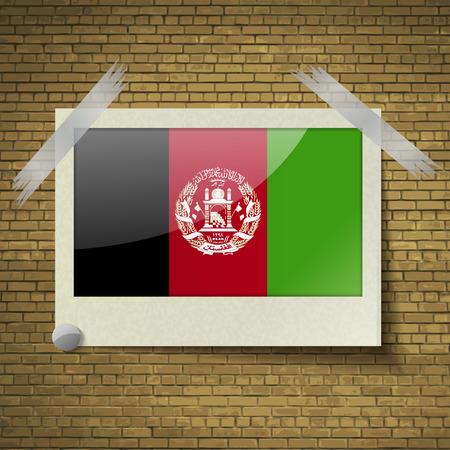 brick background: Bandiere dell'Afghanistan in cornice su uno sfondo di mattoni. Illustrazione vettoriale