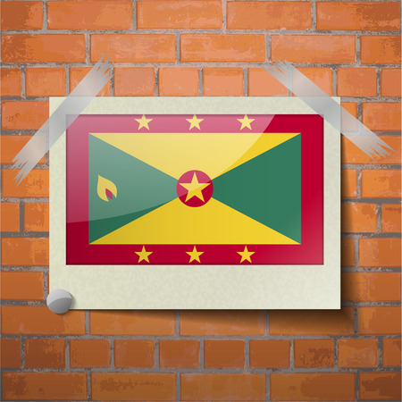 scotch: Flags of Grenada scotch taped to a red brick wall. Vector