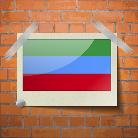 scotch: Flags of Dagestan scotch taped to a red brick wall. Vector Illustration