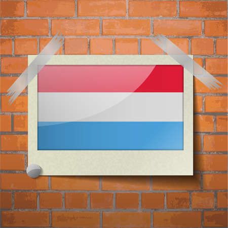 scotch: Flags of Luxembourg scotch taped to a red brick wall. Vector Illustration