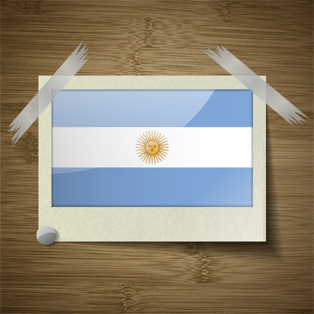 correctly: Flags of Argentina at frame on wooden texture. Vector illustration Illustration