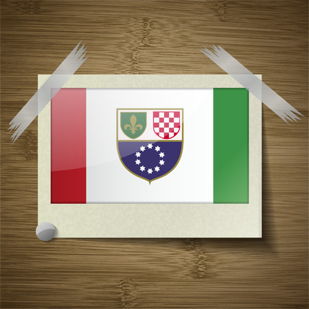 wallpaper  eps 10: Flags of Bosnia and Herzegovina Federation at frame on wooden texture. Vector illustration Illustration