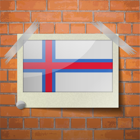 scotch: Flags of Faroe Islands scotch taped to a red brick wall. Vector Illustration