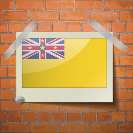 niue: Flags of Niue scotch taped to a red brick wall. Vector
