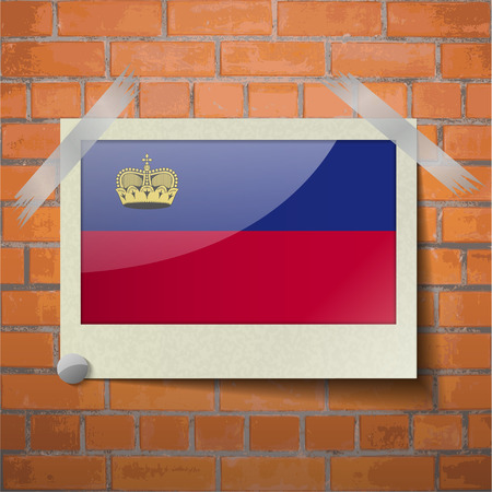 princely: Flags of Liechtenstein scotch taped to a red brick wall. Vector