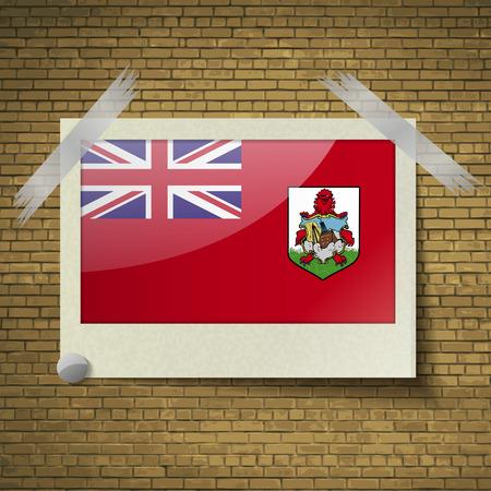 brick background: Bandiere di Bermuda in cornice su uno sfondo di mattoni. Illustrazione vettoriale