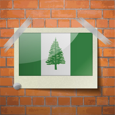 kingston: Flags of Norfolk Island scotch taped to a red brick wall. Vector