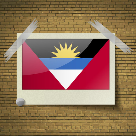 barbuda: Flags of Antigua and Barbuda at frame on a brick background. Vector illustration Illustration