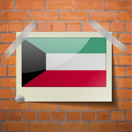spangled: Flags of Kuwait scotch taped to a red brick wall. Vector Illustration