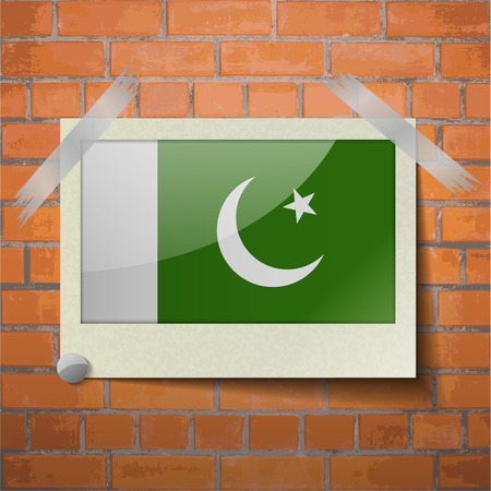 scotch: Flags of Pakistan scotch taped to a red brick wall. Vector