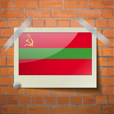 scotch: Flags of Transnistria scotch taped to a red brick wall. Vector Illustration
