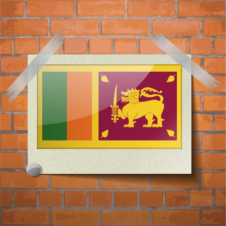 sri: Flags of Sri Lanka scotch taped to a red brick wall. Vector