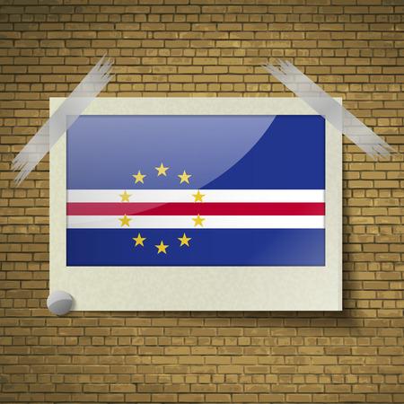 brick background: Bandiere di Capo Verde a telaio su uno sfondo di mattoni. Illustrazione vettoriale